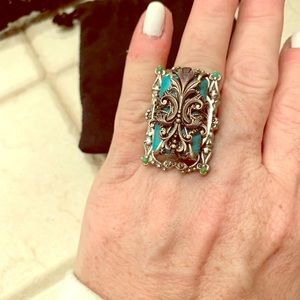 Ollipop turquoise and silver statement ring